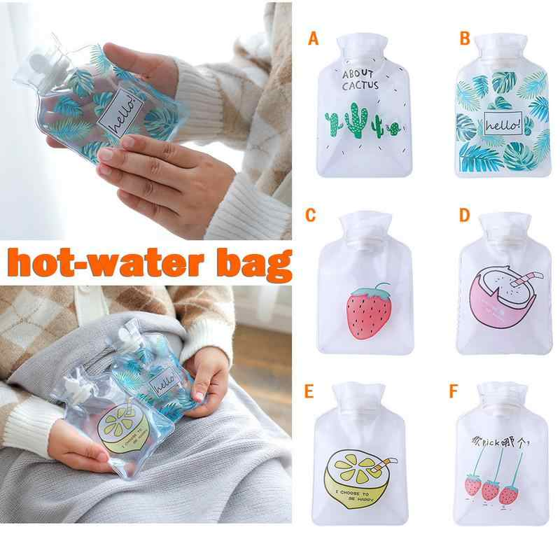 Small Transparent Hot Water Bottle Cartoon Simple Winter Warm Water Bag Student Portable Mini Water Hand Warm Treasure Bag