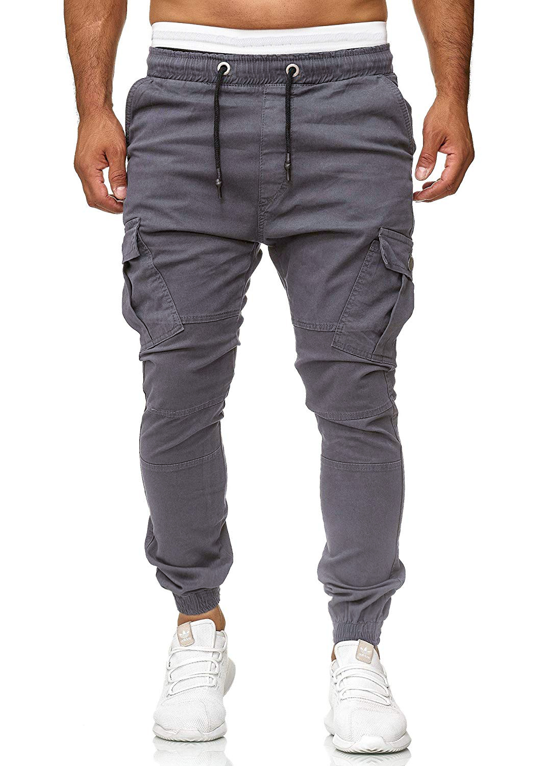 Men Casual Jogger font b Slim b font Fit Pants Solid Drawsting Urban Straight Leg Trouser