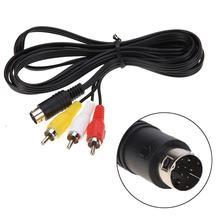 Cable de Audio y Video para Sega Genesis 2 3 II III, 1,8 M, AV RCA, Cable de conexión de 3RCA a 9 pines, enchufe niquelado de juego