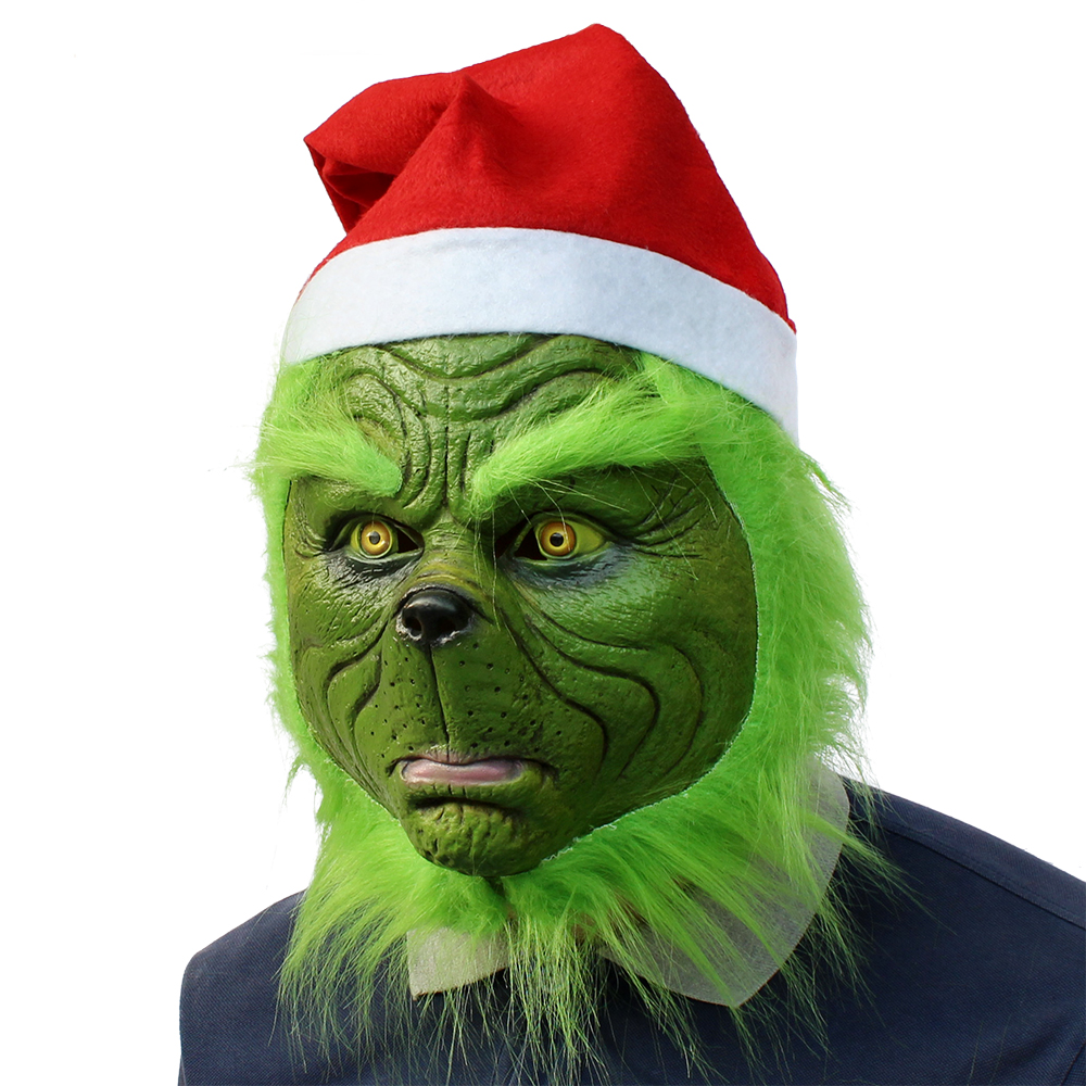 The Grinch Mask Adult Costume Cosplay Helmet How the Grinch Stole Christmas Prop