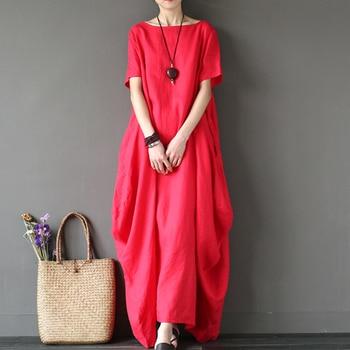 Kaftan Womens Maxi Dress Summer O Neck Long Sleeve Spring Cotton Linen Gown Robe Dresses Plus Size Large Size Dresses 3