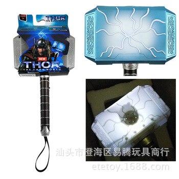 Juego de rol de thor de 28cm, casco con luz LED y sonido, arma, martillo, juguete para sismo, disfraz de fiesta, martillo de thor