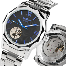 цена на Luxury Automatic Watch Men Stainless Steel Band Mechanical Watch Business Casual Skeleton Clock Relogios Masculino