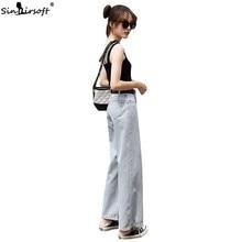 New Arrival Womens High Waist Button Soild Denim Full Length Trousers Streetwear Loose Straight Jeans Pants 2019 Summer Fashion