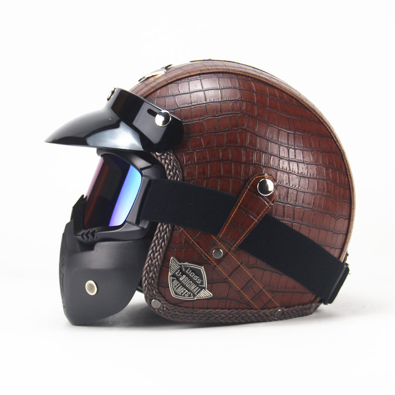 Hommes femmes 3/4 casque de vélo PU cuir Harley casques Vintage casque de moto avec masque de lunettes visage ouvert 57-64cm