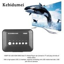 Kebidumei reproductor multimedia de 1080P para TV Reproductor de vídeos SD/MMC con SD, MMC, RMVB, MP3, Multi TV, USB, HDMI, soporte de caja, USB, disco duro Dr
