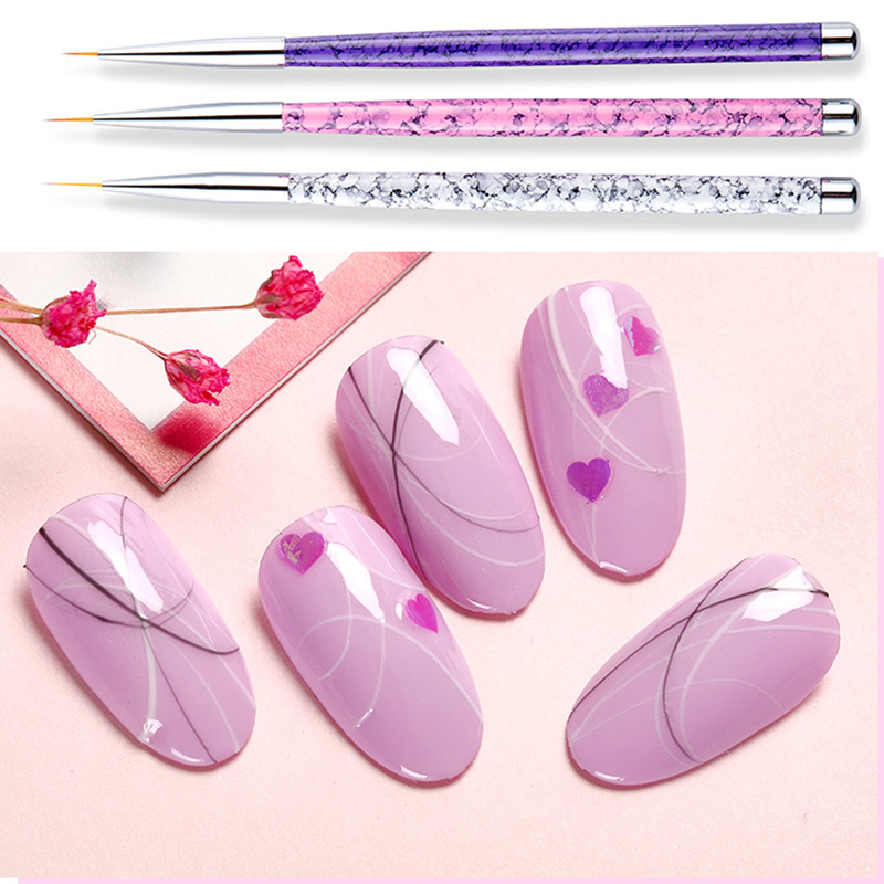 3Pcs/Set Kawaii Nylon Paint Brush Miniature Fineliner Nail Art Drawing Brushes Acrylic Painting Brush Pens School Art Supplies