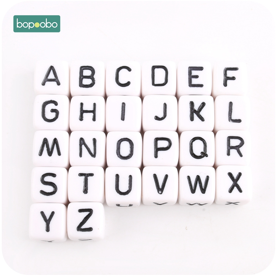 Bopoobo 100PC 10mm Cube Acrylic Letter Beads Single Alphabet A-Z Bracelet Jewelry Making Beads DIY Starter Kits Non-toxic