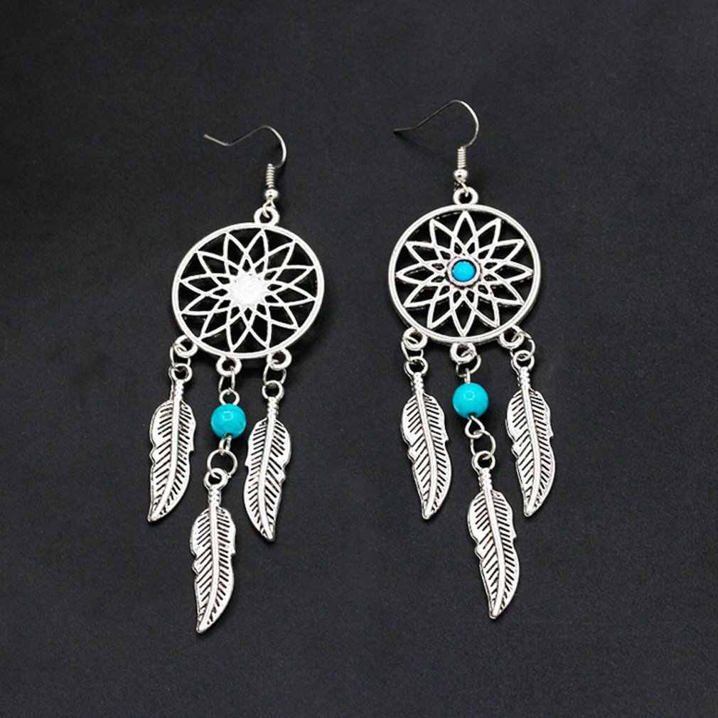 Silver Plated Bohemia Feather Dream Catcher Dreamcatcher Drop Earrings For Women Jewelry