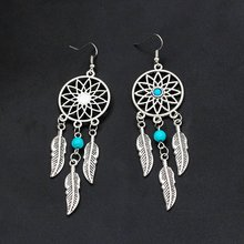 Silver Plated Bohemia Feather Dream Catcher Dreamcatcher Drop Earrings For Women Jewelry dreamcatcher design feather drop earrings