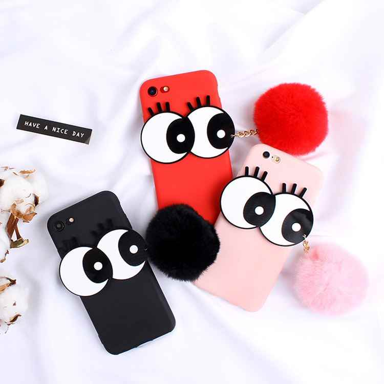Para o iPhone Da Apple X XR XS MAX 3D Dos Desenhos Animados Big Eyes Bonito Bola de Cabelo Tampa Do Telefone Para o iphone 6 6 S 7 8 Plus Soft Case Silicone Coque
