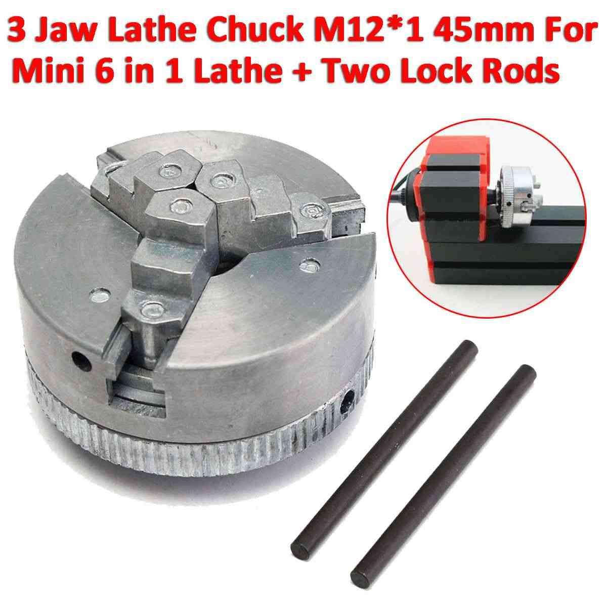 Mới nhất 3 Hàm Tự Centering Tiện Chuck M12 * 1 45mm Kim Loại Cuộn Chucks Cho Khoan Xay Các Chi Tiết Máy DIY Tiện Phụ Kiện