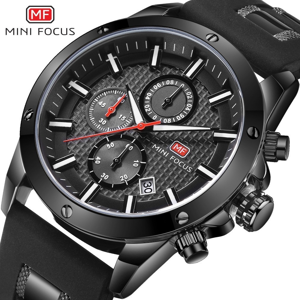 MINI FOCUS Chronograph Watches Man Clock Quartz Mens Top Brand Luxury Military Watch Men Sports Army Silicone