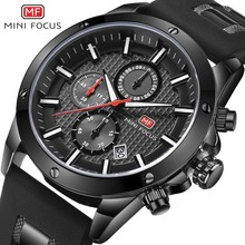 MINI FOCUS Chronograph Watches Man Clock Quartz Mens Top Brand Luxury Military Watch Men Sports Army Silicone