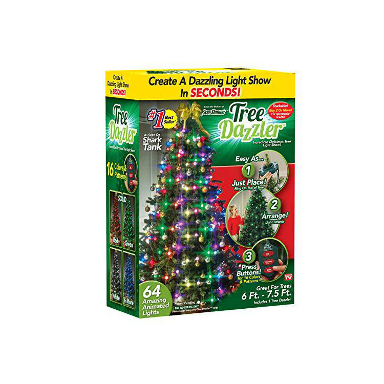 New LED christmas decorative lights Tree Dazzler RGB String Lamp Twinkle Real Lighting 48/64led decoration for Xmas