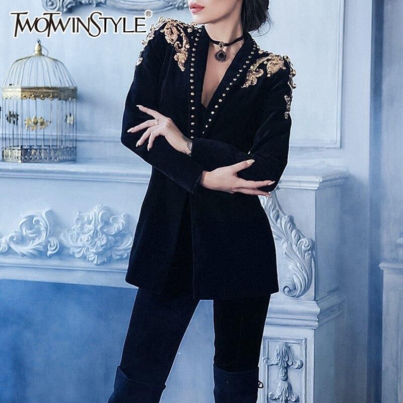 TWOTWINSTYLE Heavy Beading Rivets Women's Suits V Neck Long Sleeve Black Blazer Coat Female Clothing 2019 Autumn Fashion Tide