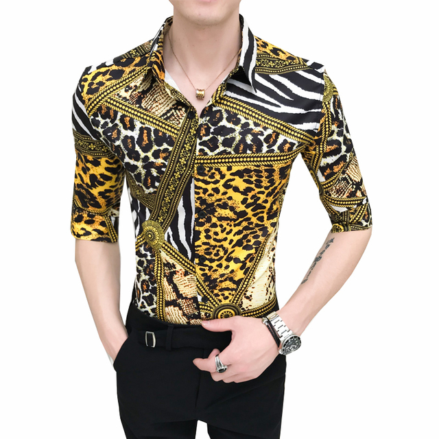 Men Flower Shirt Men Slim Fit Half Sleeve