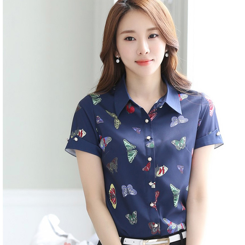 Butterfly Printed Lady Fashion Chiffon Blouses Plus Size S-4XL Blue Color Summer Clothing Girls Casual Shirts
