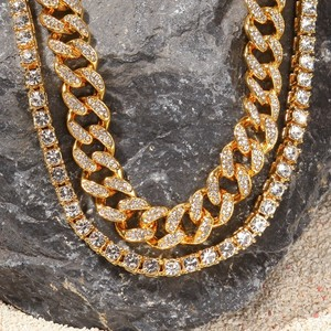 Image 4 - UWIN 2 Necklaces Fashion Hiphop Jewelry 13mm Cuban Link Chain With 5mm Iced Out Rhinestones Tennis Chains Gold Color Necklace