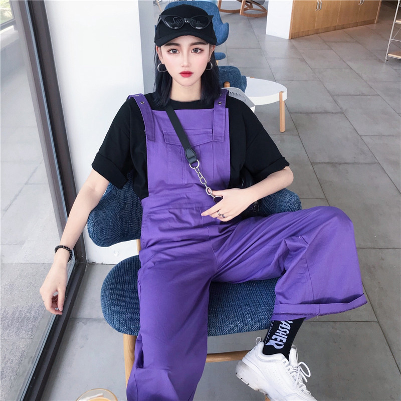 #1105 Summer Harajuku Hip hop jumpsuit Women Purple Loose Casual Plus size Rompers Thin Overalls For Women Straight Wide leg