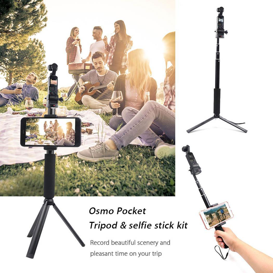 Portable Aluminum Alloy Tripod Selfie Stick 30cm 94cm Wireless 329g Black Accessories for Kit OSMOPocket