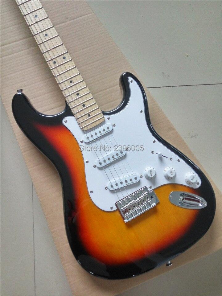 Guitare fantaisie usine directe 3ts électrique st guitare, rétro vintage sunburst strat guitare, livraison gratuite