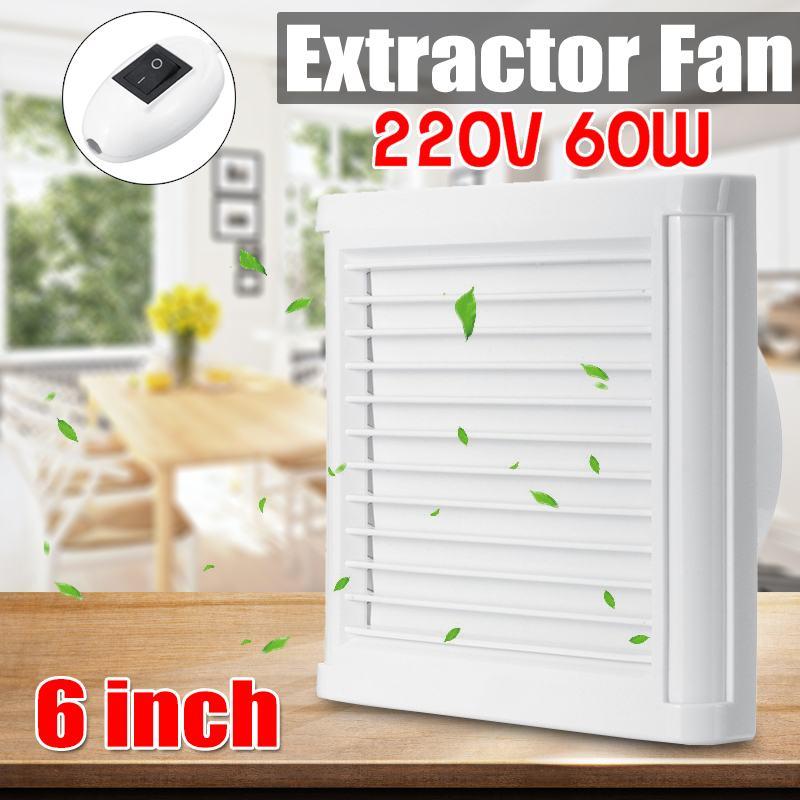 AUGIENB 60W 4/6 Inch Home Bathroom Kitchen Bedroom Toilet Low Noise 220V Ventilator Fan Hotel Wall Silent Extractor Exhaust Fan
