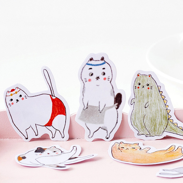 Cute Chubby Cats Stickers 45 pcs Set