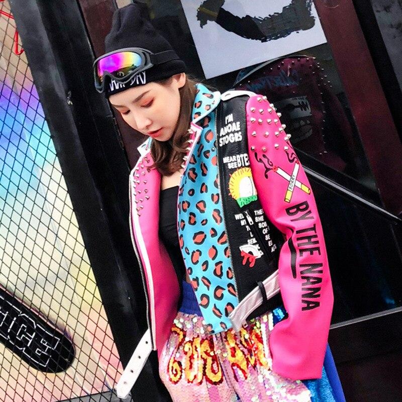 Women Pink Leopard PU Jacket 2019 Spring new fashion Rivet Jacket Letter Printing Short Jacket Women PU   Leather   Jacket female