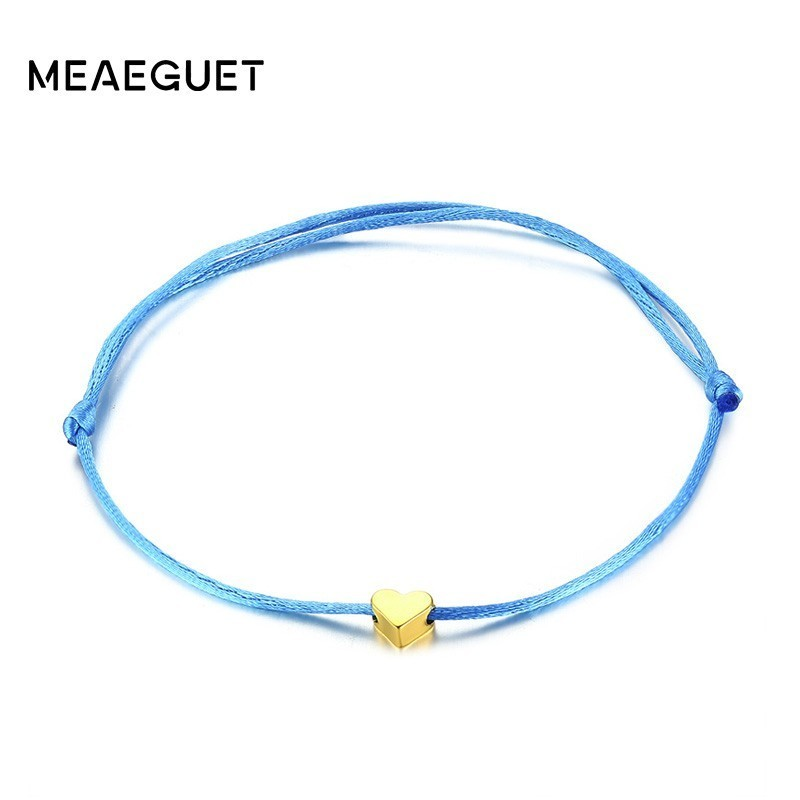 Minimalis Blue Heart Rope Cord Bracelet Adjustable Bangle
