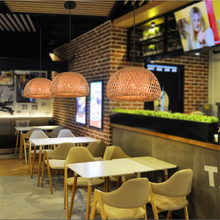 Vintage Bamboo LED Pendant Lamp Weaving Nest Antique Chandelier Lanterns Living Room Hotel Restaurant Aisle