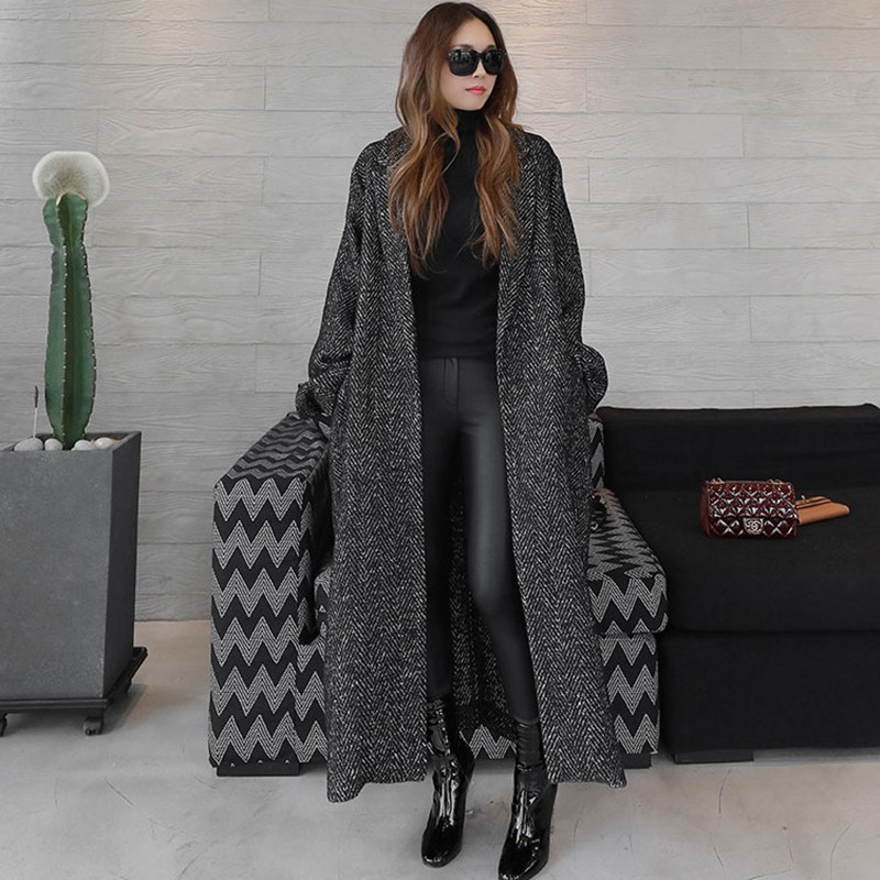 2019 New Korean Autumn Wool Coat Women Long Herringbone Loose Large Size Tied Wool Coat Women Black Jackets Plaid Coat Clothes in Wool amp Blends from Women 39 s Clothing