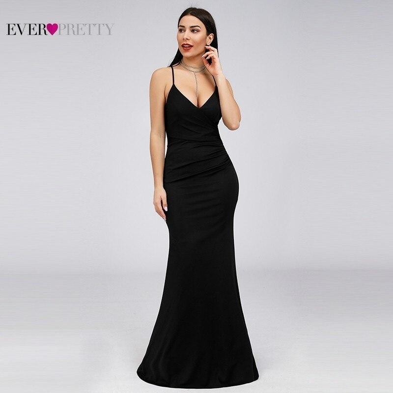 Black Mermaid Black   Bridesmaid     Dresses   2019 Ever Pretty Deep V-Neck Sleeveless Elegant Sexy Party Gowns Vestidos Para Boda Mujer