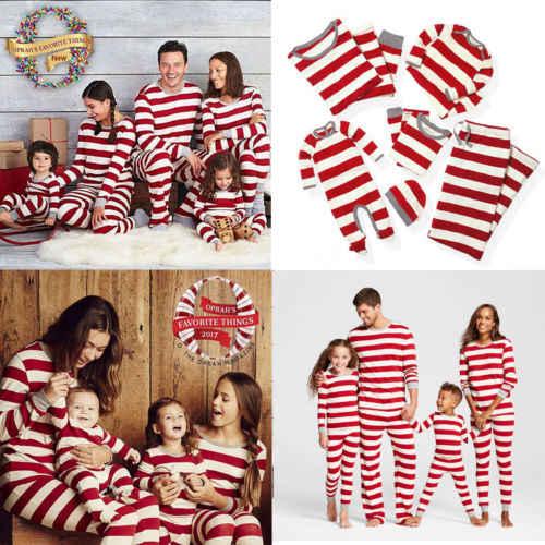 2019 Brand Xmas Stripe Family Matching Christmas Pajamas PJs Sets Xmas  Sleepwear Nightwear Tops +Pant 7bf6b843e