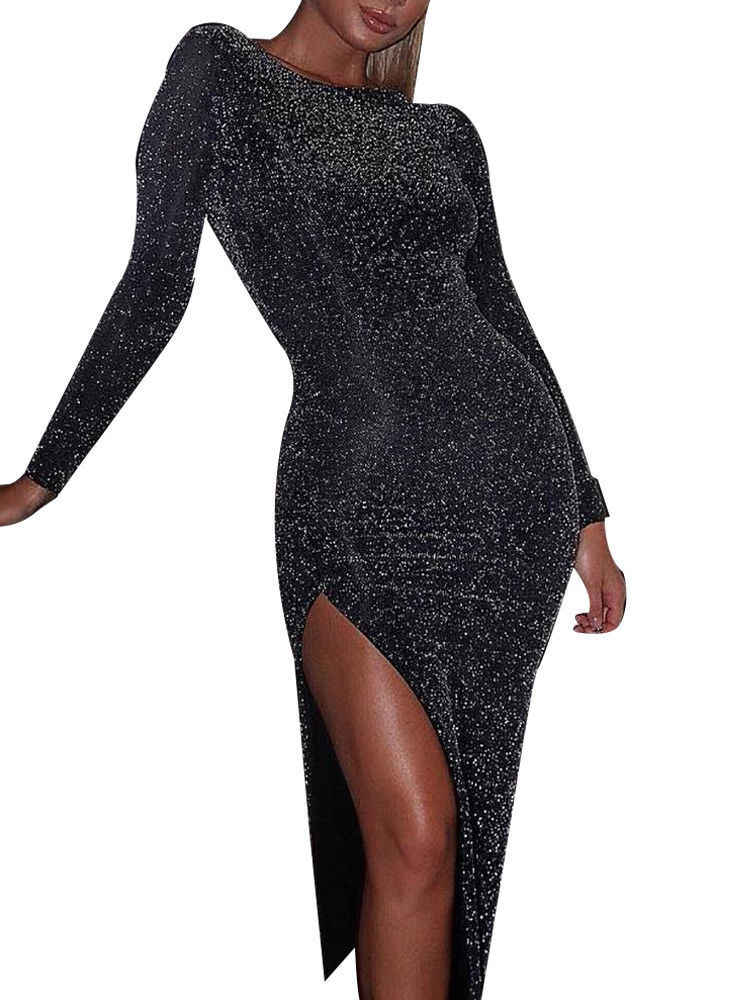 0d0094c5bd81b Hot Sequin Glitter Sexy Womens Long Sleeve Sequins Sparkly Bodycon ...