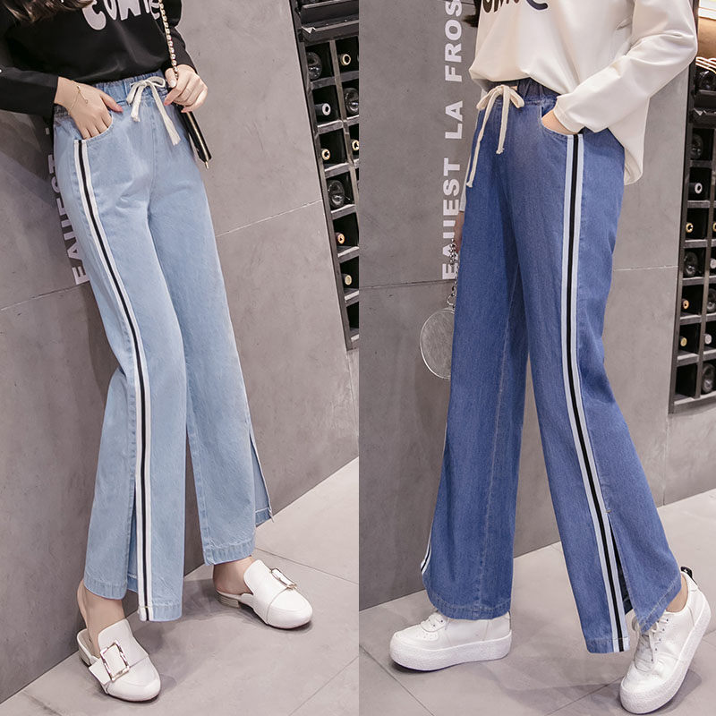 2019 Spring Summer Fashion Fat Female Loose High Waist Denim Wide Leg Pant Women Casual Trousers Plus Size   Jeans   Office Lady 5XL