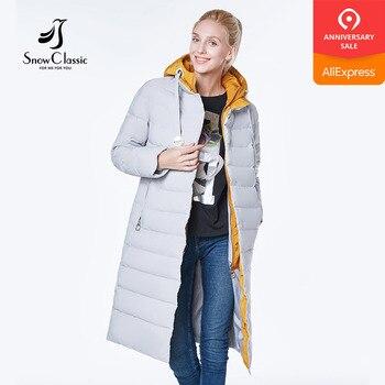 الثلوج الكلاسيكية 2018 camperas موهير abrigo invierno سترة النساء معطف النساء بارك خياطة الأوروبية تصميم سميكة الدافئة اللون قبعة