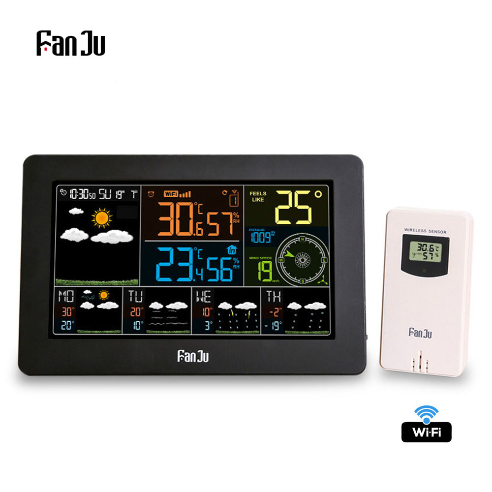FanJu FJW4 Wifi Weather Station Wall Digital Alarm Clock Thermometer Hygrometer Future Weather Forecast Wind Direction