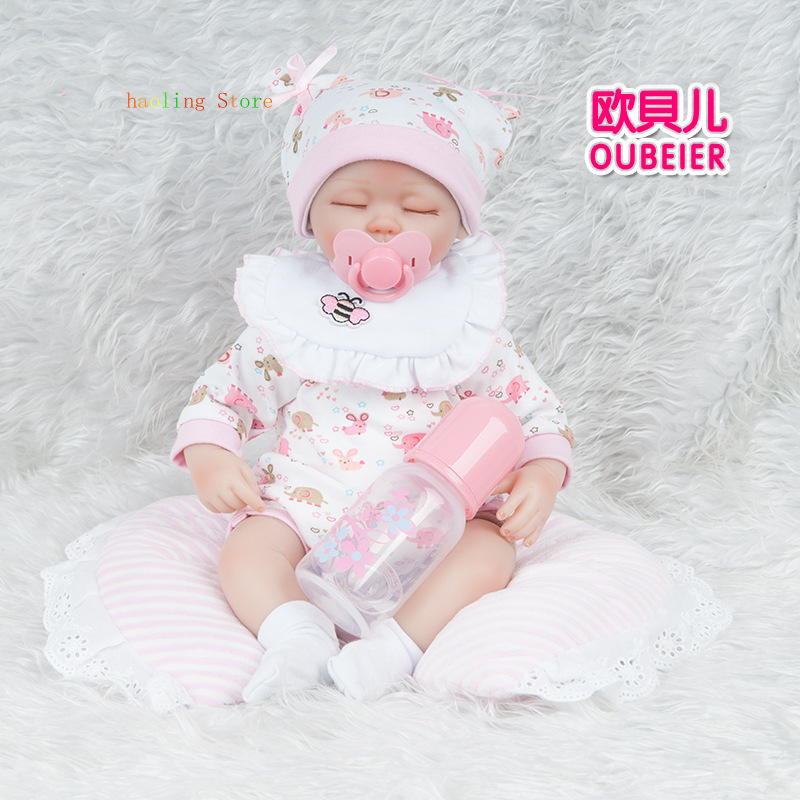 45CM Lifelike Silicone Reborn Baby Dolls <font><b>Princess</b></font> <font><b>Toddler</b></font> Soft Cute Baby Gift Toy Free Shipping image