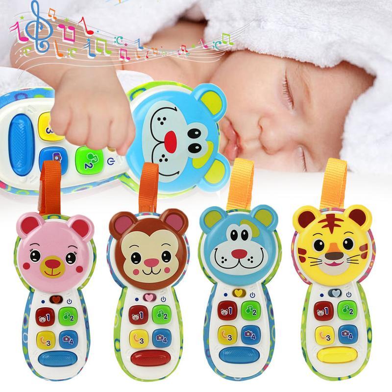 Baby Cartoon Animal Music Plastic Mobile Phone Toys Infant Early Learning Sounding Lighting LED Phone Toy For Children