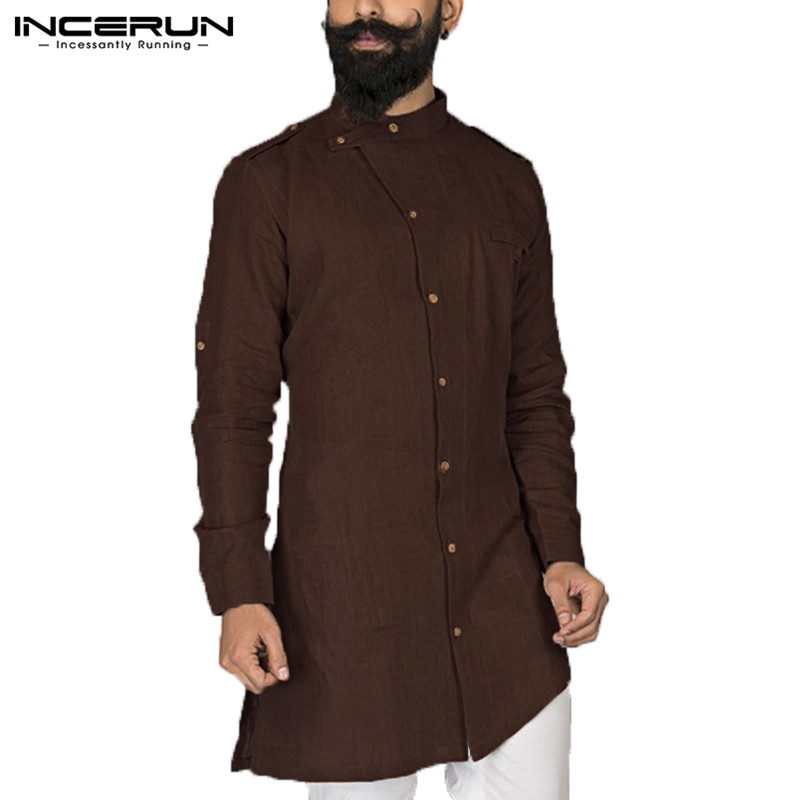 Men Shirt Stand Collar Long Sleeve Vintage Button Men  Suit Tops Cotton Men Islamic Arab Shirt Muslim Clothes 2020 INCERUN