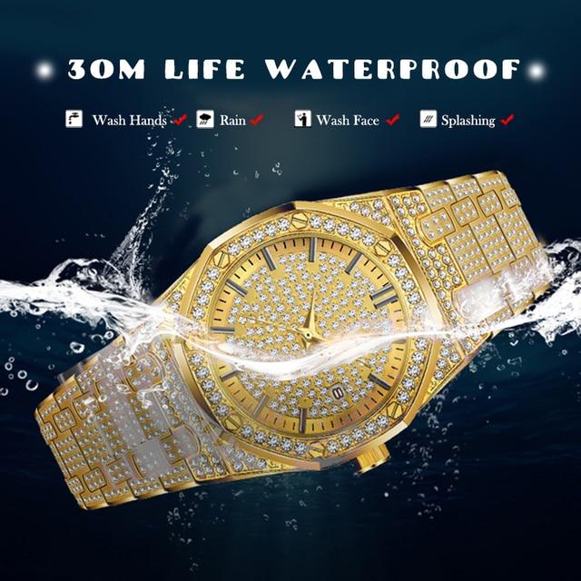 MISSFOX 18K Gold Luxury Brand Diamond Top Brand Calendar Date Unisex Quartz Watches 3