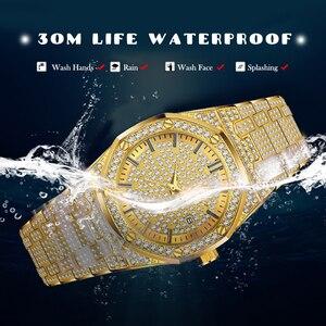 Image 4 - 18 18kゴールド腕時計メンズ高級ブランドダイヤモンドメンズ腕時計トップブランドの高級ffアイスアウト男性クォーツ時計カレンダー男性のためのユニークなギフト