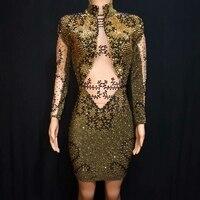 Роскошные Стразы Золото мини платье с блестками Для женщин вуаль See Through Элегантный облегающее платье Женский праздновать Пром Детский кост