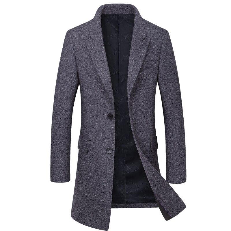 New Brand Men Wool Coat Fashion Quality Wool Blend Long Overcoat Male Winter   Trench   Coat Men's Coat