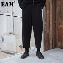 [EAM] 2019 New Spring High Elastic Waist Black Loose Long Thick Leisure Pants Women Trousers Fashion Tide All-match JK798
