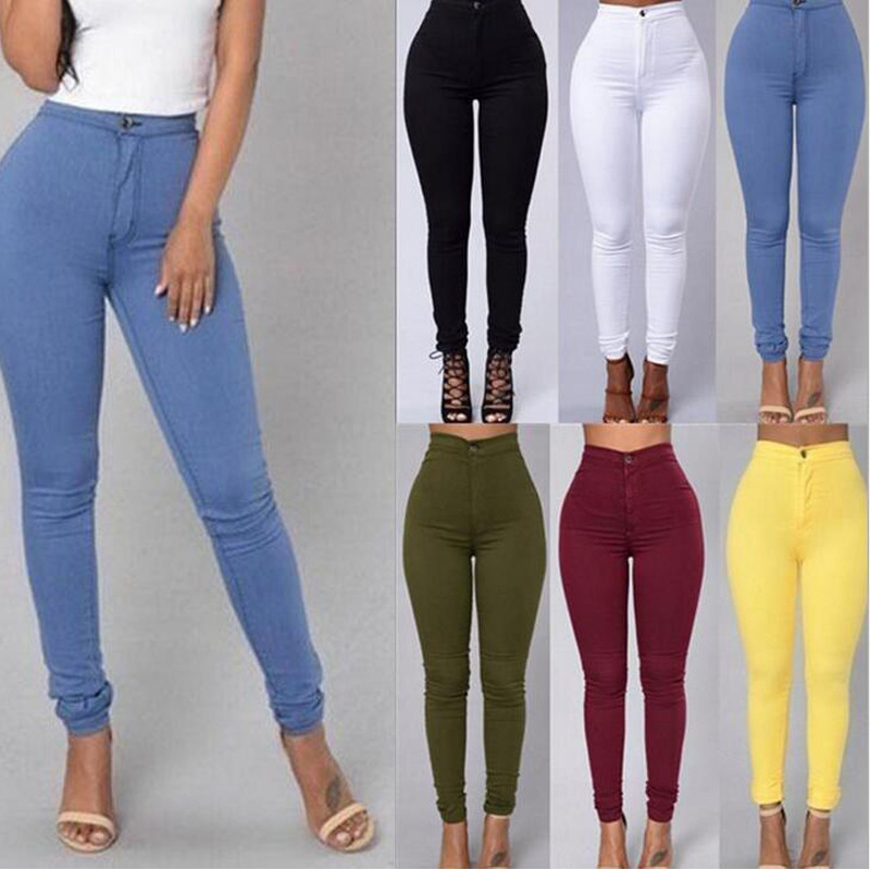 Sexy Women Fashion Jeggings Warm Multicolor Jeans Slim Skinny Pants Push Up 2020 Spring Summer Female Clothes Elastic High Waist
