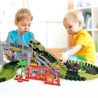 142 шт. динозавр трек автомобиль DIY электрический вагон игрушка головоломка Собранный строительный блок игрушки для детей вагон