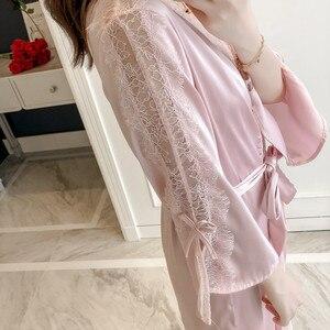 Image 5 - Lisacmvpnel האביב חדש דפוס סקסי ריסים תחרה חולצה לילה חצאית חלוק סט חיקוי משי גבוהה פיתוי בית הלבשת