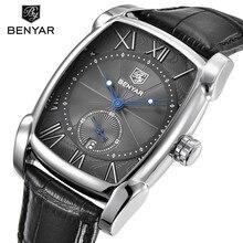 a4fda48e BENYAR Роскошные Брендовые мужские часы мужской повседневное прямоугольник  циферблат повседневные часы для мужчин наручные Дата Спорт